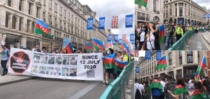 Azerbaijanis stage rally in London to protest Armenian military aggression