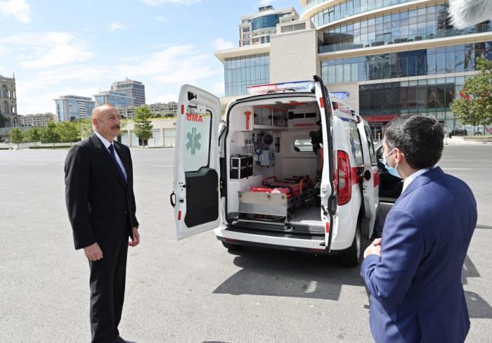 President Ilham Aliyev views new ambulances delivered to Azerbaijan