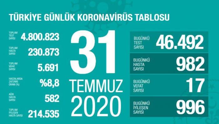 Türkiyədə koronavirusa yoluxma sayı 230 mini keçdi