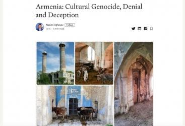 """Emiten un artículo sobre la política de ocupación de Armenia contra Azerbaiyán en el sitio web estadounidense """"Medium"""""""