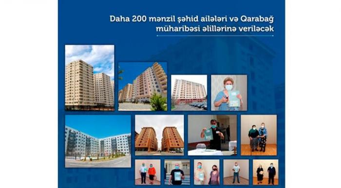 Daha 200 şəhid ailəsi və müharibə əlilinə ev veriləcək