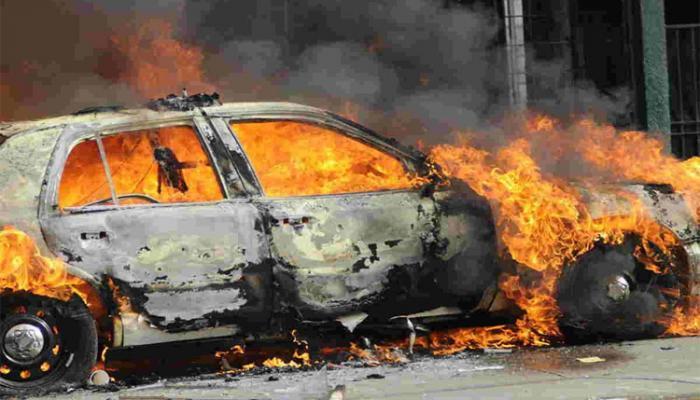 Xırdalanda avtomobil yandı
