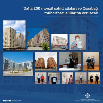 Otras 200 familias de mártires y discapacitados de la guerra de Karabaj recibirán apartamentos en Azerbaiyán