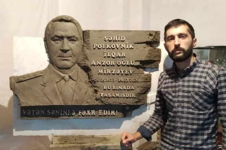 Şəhid polkovnikin barelyefi hazırlandı -    FOTO