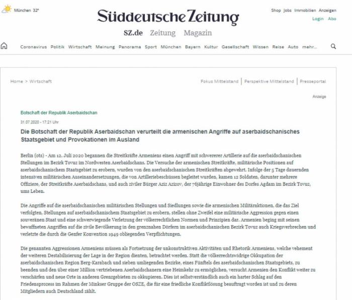 Embajada de Azerbaiyán en Alemania condena la provocación de Armenia