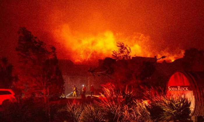 Thousands evacuated as wildfire grows east of Los Angeles