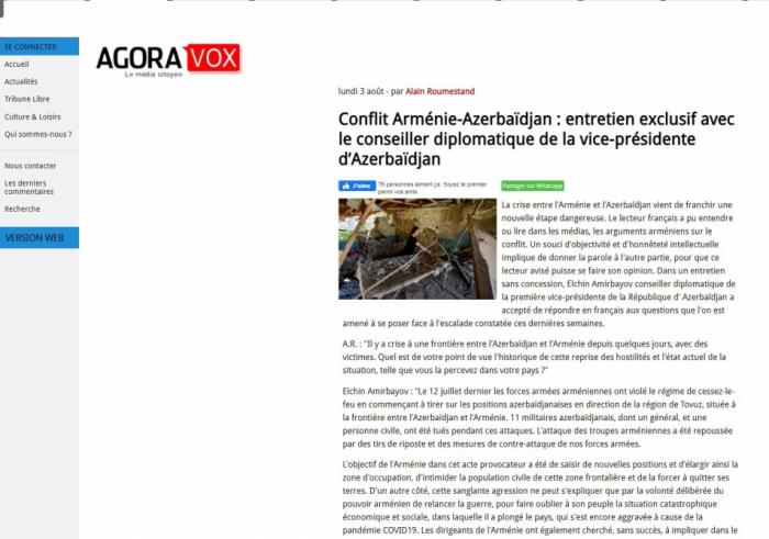 """El asistente de la primera vicepresidenta de Azerbaiyán realiza una entrevista exclusiva sobre el conflicto entre Armenia y Azerbaiyán al portal """"Agoravox"""""""