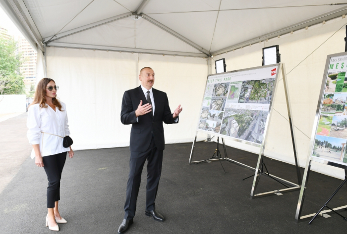 President Ilham Aliyev views works to be done in new forest type park in Baku - PHOTO