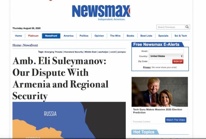 """""""نيوزماكس"""" الأمريكية تنشر مقالة عن عدوان أرمينيا على أذربيجان"""