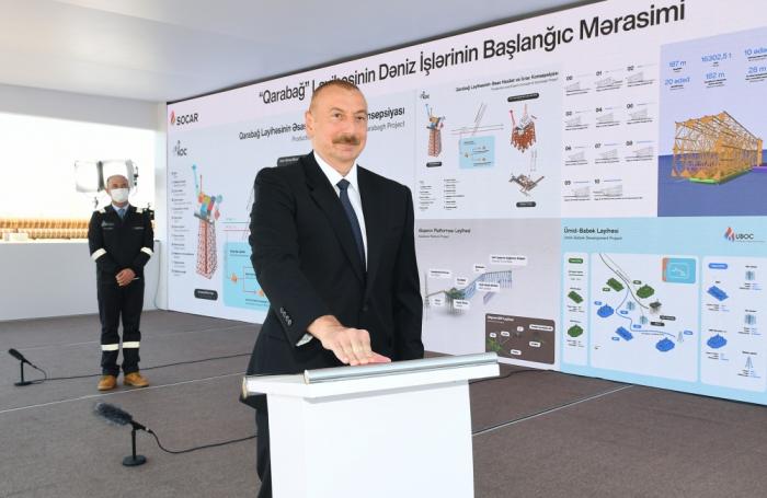 President Aliyev attends sail away of support block of Karabakh field -  PHOTOS
