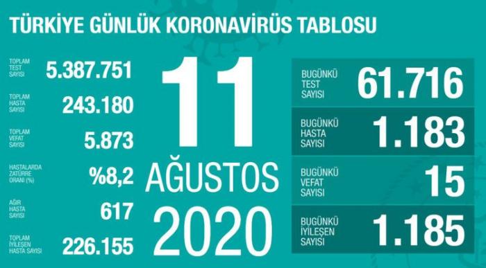 Türkiyədə daha 15 nəfər koronavirusdan ölüb