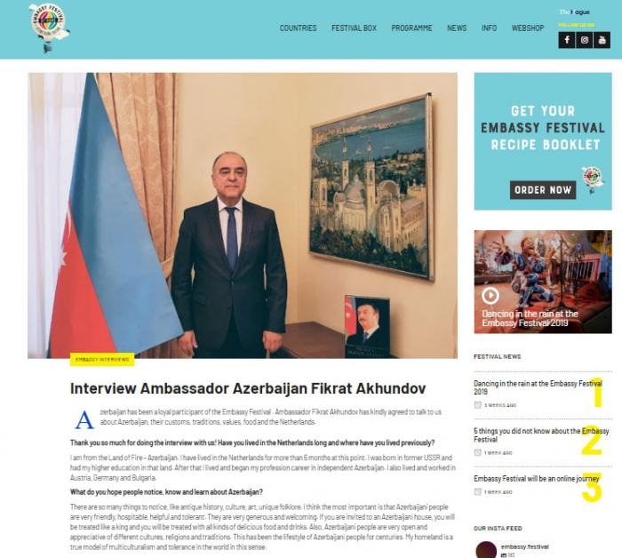 Dutch website publishes interview with Azerbaijani ambassador