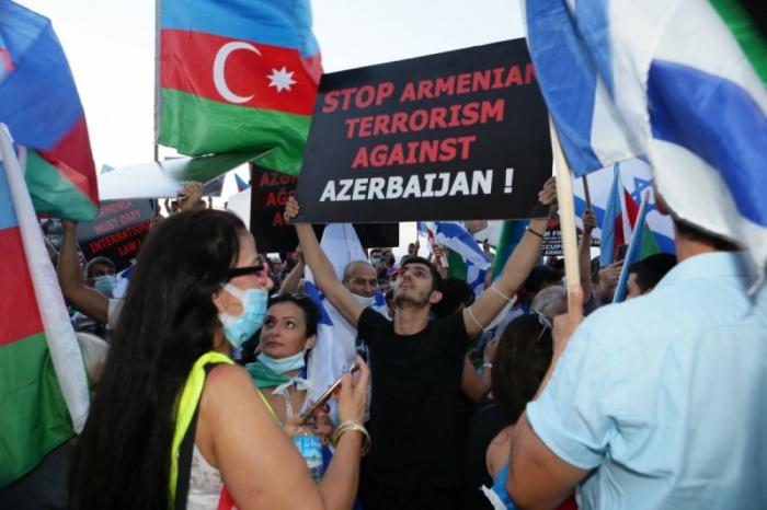 İsraildə yaşayan yüzlərlə insan erməni təxribatına etiraz edib