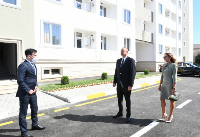 Azerbaijani president and first lady attend opening of newly renovated dormitory