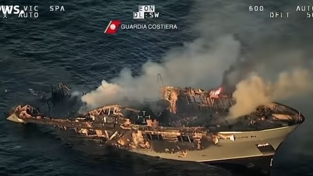 Italian Coast Guard rescues 17 from burning yacht sinking off coast of Sardinia -   NO COMMENT
