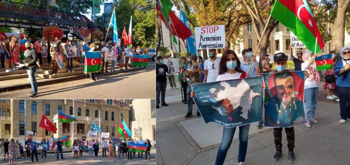 Aserbaidschanische Flagge im kanadischen Stadtzentrum gehisst