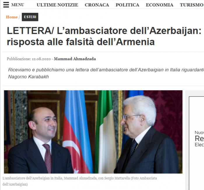 İtaliyadakı səfirimiz erməni diplomata cavab verdi