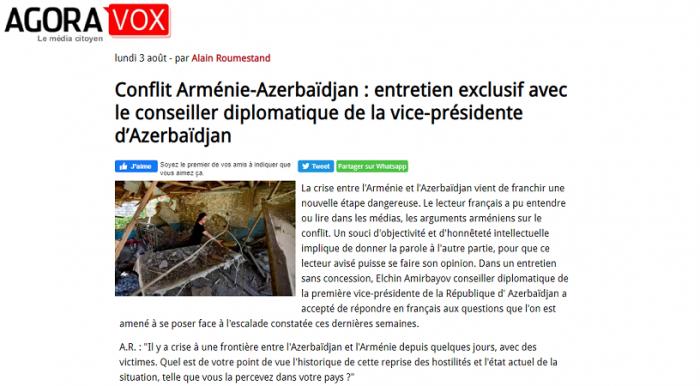Le site français Agoravox publie un entretien exclusif avec le conseiller diplomatique de la vice-présidente d'Azerbaïdjan