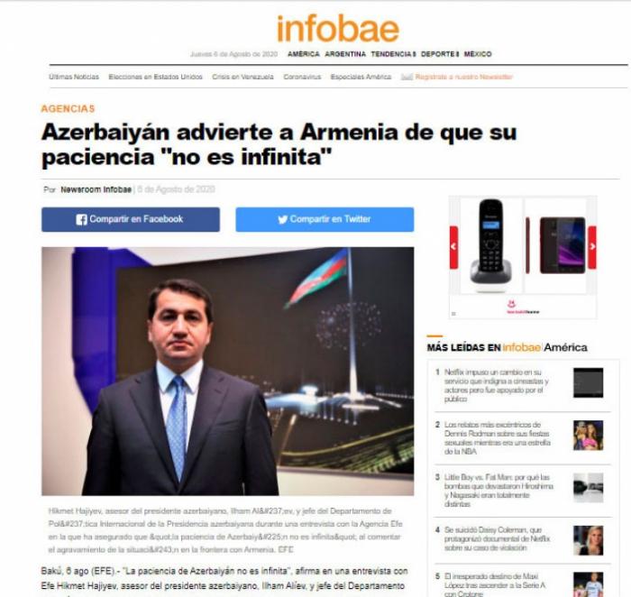 La entrevista de Hikmet Hajiyev a la agencia de noticias EFE aparece en periódicos y sitios de noticias de varios países