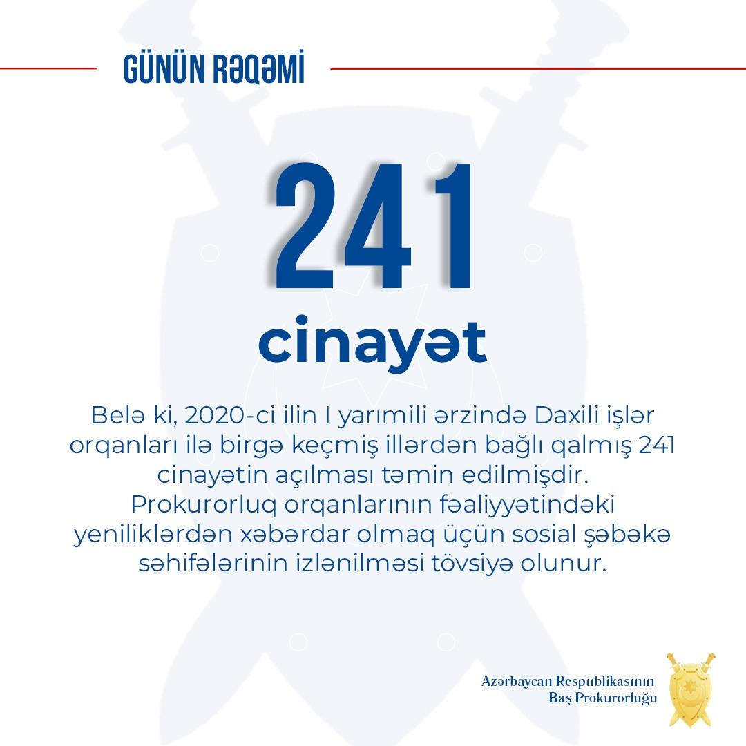 Bağlı qalmış 241 cinayətin üstü açılıb