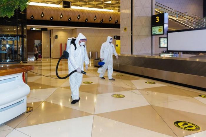 Bakı aeroportu dezinfeksiya edildi -  FOTO