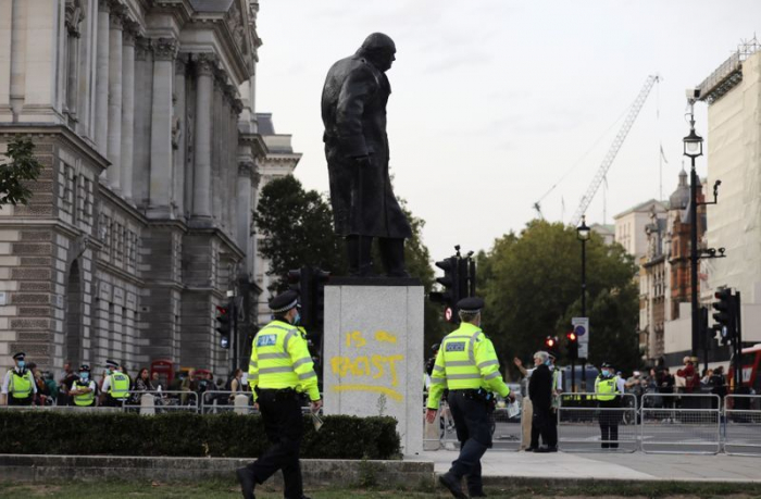 London statue of Churchill defaced again