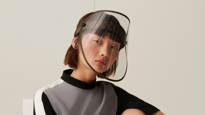 Louis Vuitton releases a face shield with golden studs