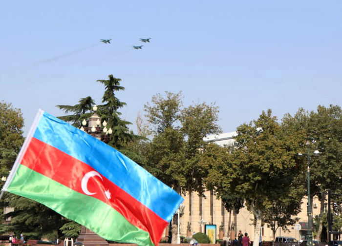 Aircraft of Azerbaijan, Turkish Air Forces fly over Ganja - UPDATED