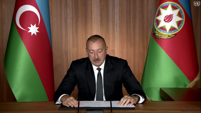 Ilham Aliyev machte eine Videobotschaft an das UN -   VIDEO