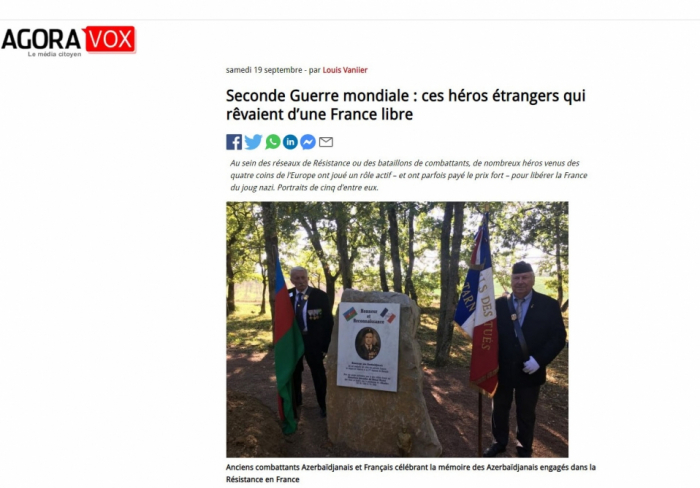 Le portail français Agoravox publieun article sur un légendaire partisan azerbaïdjanaisAhmadiyya Djebraïlov