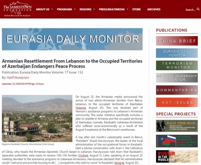 ABŞ-ın nüfuzlu jurnalı erməni təxribatlarından yazdı