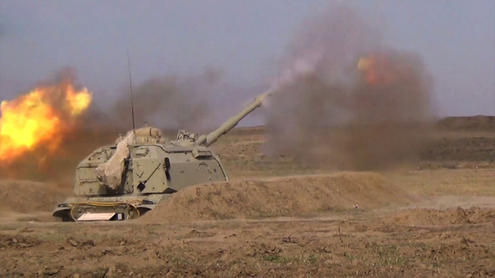 "Azerbaijani army conducts combat firing from ""Msta-S"" self-propelled howitzer –  VIDEO"