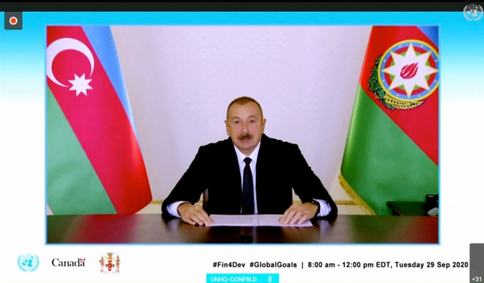 President Ilham Aliyev made speech in a video format at a meeting of Heads of State and Government