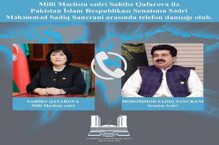 Azerbaijani parliament speaker holds phone talk with Pakistani counterpart