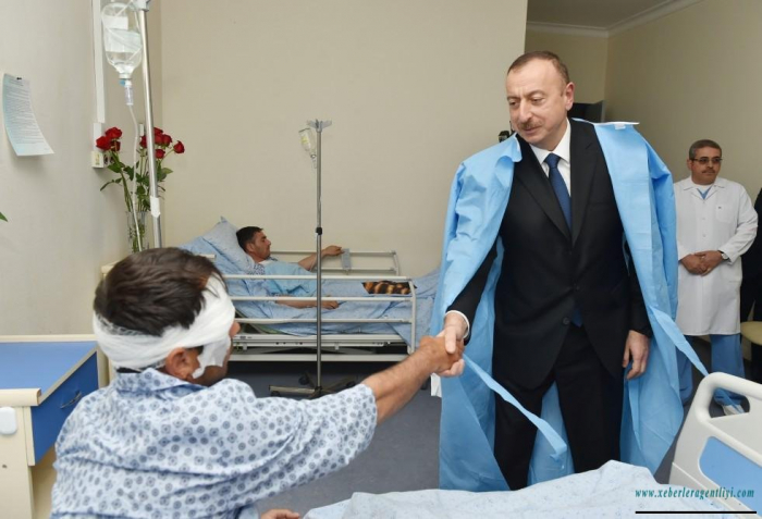 President Ilham Aliyev and First Lady Mehriban Aliyeva visit wounded military servicemen