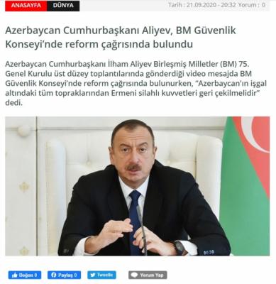 كلمة إلهام علييف في الأمم المتحدة في الإعلام التركي - صورة