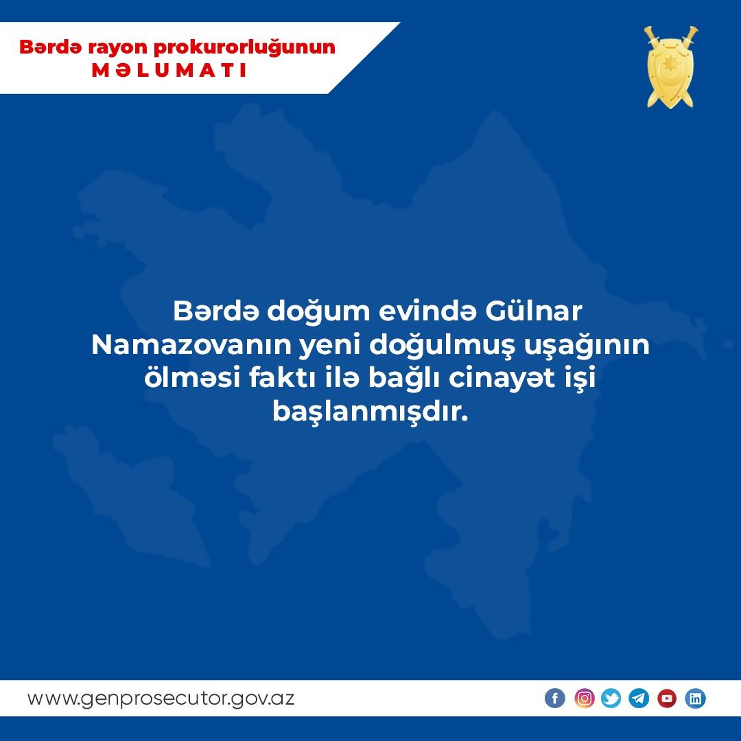 Bərdədə körpə ölümü ilə bağlı cinayət işi açıldı