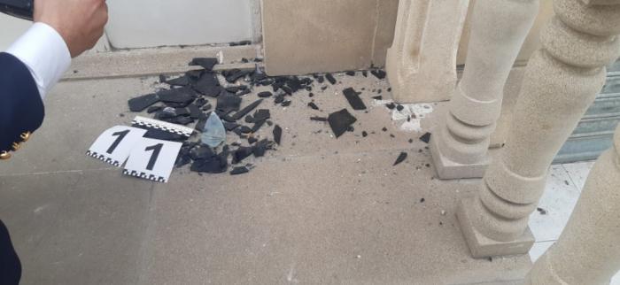 Erməni təxribatı nəticəsində polis binasına ziyan dəyib -  FOTO