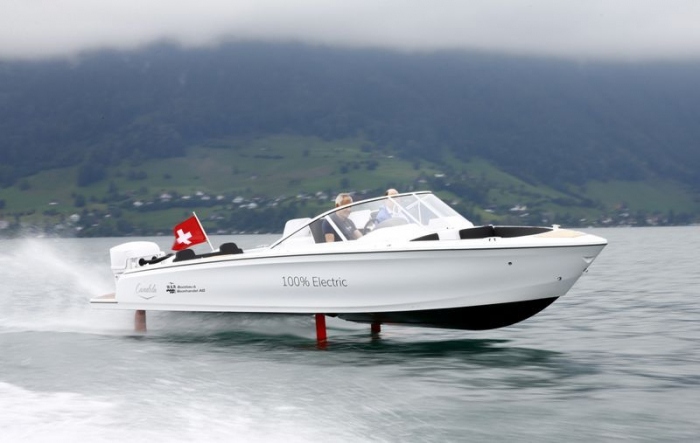 Electric speedboat flying above the waves debuts on Switzerland