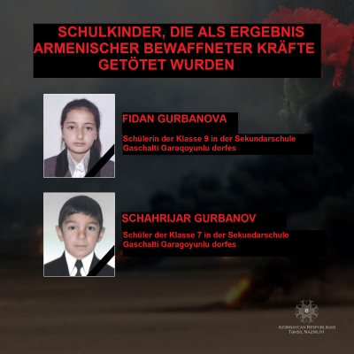 Armenischen Streitkräfte tötenaserbaidschanische Schulkinder - FOTO