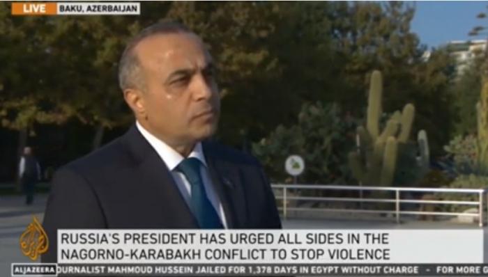 """Azay Quliyev """"Al Jazeera"""" kanalında erməni təcavüzündən danışdı -  VİDEO"""