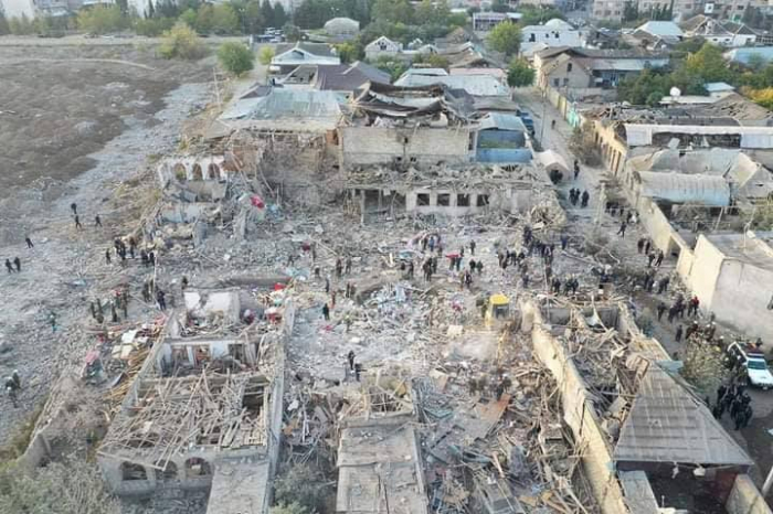 Drone footage of destruction caused by Armenia