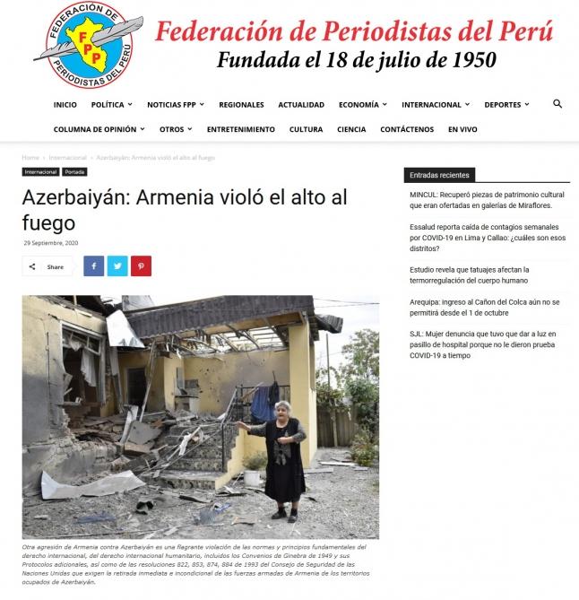 Ermənistanın hərbi təcavüzü xarici mediada