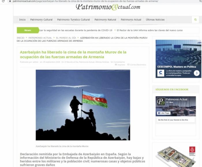 Spanish media strongly condemns Armenia