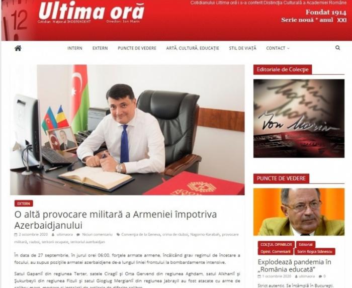 Ermənistanın hərbi təxribatı Rumıniya mətbuatında