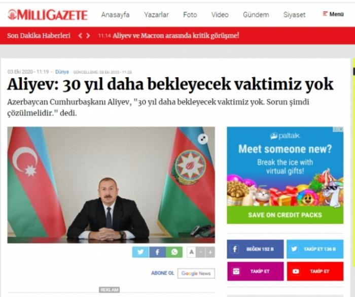 Azerbaijani president's interview with Al Jazeera TV channel in spotlight of Turkish media