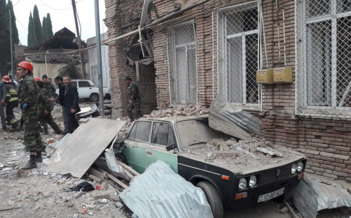 Properties of Azerbaijani civilians damaged as result of Armenian shelling