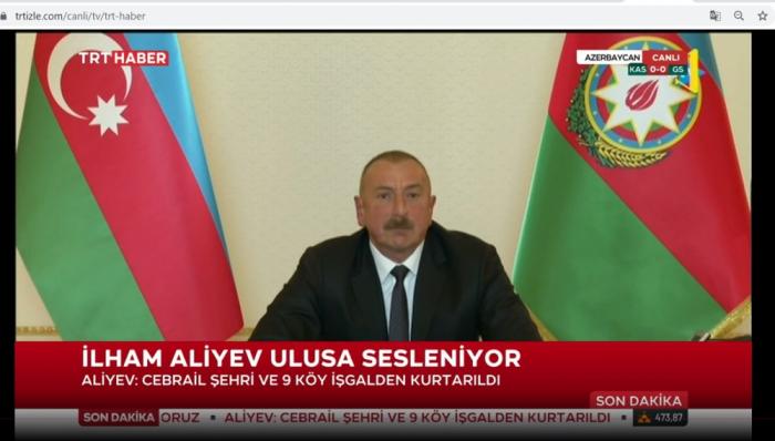 Türkiyə telekanalları Prezidentin xalqa müraciətini yaydı