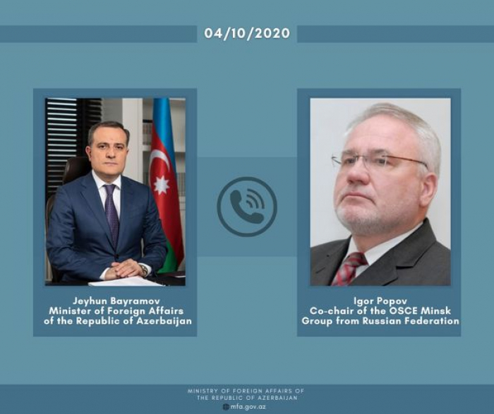 Azerbaijani FM holds phone talk with OSCE MG co-chair of Russia