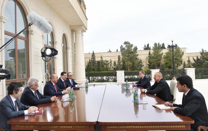President Ilham Aliyev receives Turkish FM